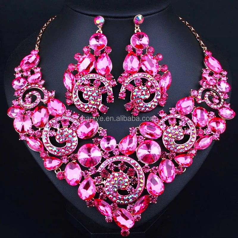 Nigeria jewelry set for party Fushia jewelry set crystal beads