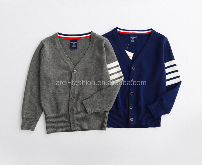 2017 new V neck 3 stripes on the sleeves children boys cardigan
