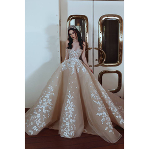 Sexy Wedding Gown Skin and Champagne Color Tulle Dubai Designer Wave Skirt Bridal Dresses 2018