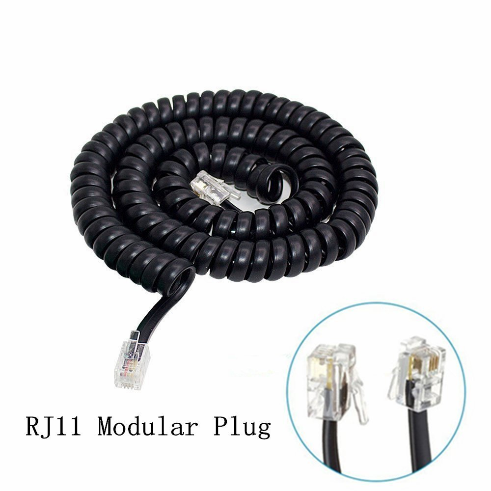 Black Spring Coiled Spiral 4P4C 24awg RJ11 Telephone Handset Cable Wire