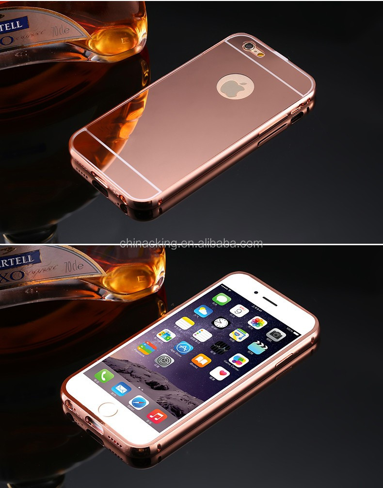 For Iphone 7 Mirror Back Mobile Phone Case Aluminum Metal Bumper With PC Back Cover For Apple Iphone 7 7 Plus