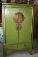 Chinese antique furniture pine wood green shanxi two door two drawer clothes cabinet