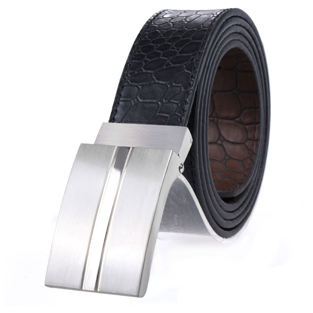Black Genuine Leather Belts Fashion For Men With Plate Buckle Belts