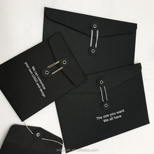 Chinese Supplier Wholesale Custom Recycled Envelope A3 A4 A5 C5 Black Paper Envelopes With Button And String
