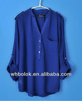 European style woman fashion design chiffon blouse blue shirt