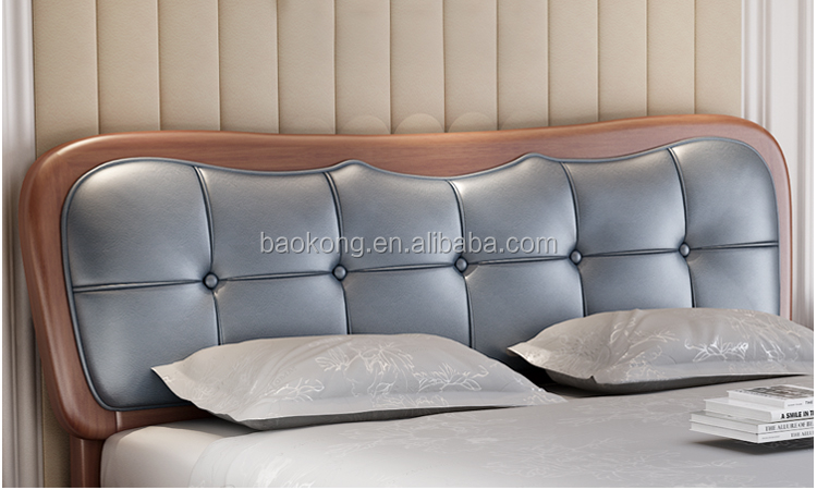 Latest Queen Size Double Bed Design With Leather Headboard