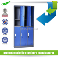 Bedroom 6 door metal wardrobe locker with blue color in high quality