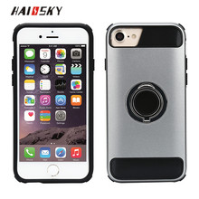 HAISSKY Shockproof 2 in 1 Ring Stand Holder 360 Rotation Magnetic Ring Case For 7 6s 6, Car Holder Ring Phone Case For iPhone 8