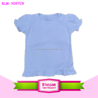 blank baby t-shirts wholesale baby toddler girls white short sleeve ruffle t-shirt Cotton plain tops