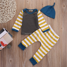 Lovely 2017 newest baby chevron pajamas baby boy clothes with hat