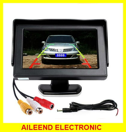 "4.3"" TFT Color LCD Car Monitor Reverse Rearview 16:9 4.3 Inch Car Monitor For Camera DVD VCD 2 Video Input"