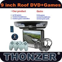 9 inch Flip Down car dvd player with 32Bit Wireless Game Function +DVD+SD/USB+ AV input & output (TZ-DR900)