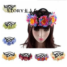 2018 European fashion halloween beach party princess bohemia wedding bride rose flower elastic hairband headband tiara <strong>crown</strong>