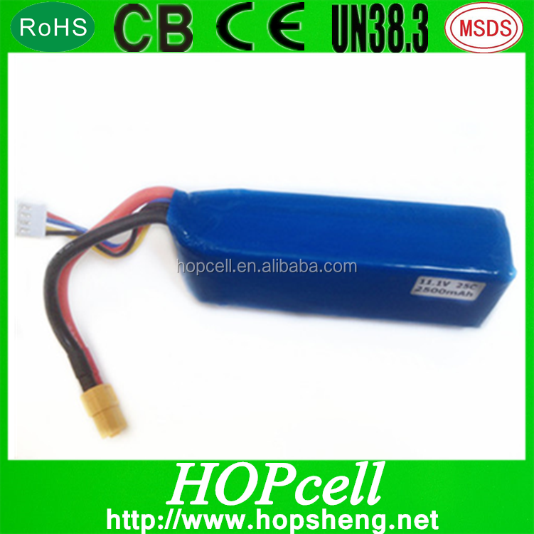 HOPcell high discharge rate 11.1V2500mAh 35C rc lipo battery for Multirotor UAV