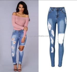 L0136A Sexy Women Jeans Skinny Ripped Stretch Slim Lady Leggings Skinny jeans pants
