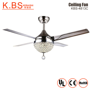 Energy Saving Electric Remote Control Led Crystal Chandelier Ceiling Fan With Light