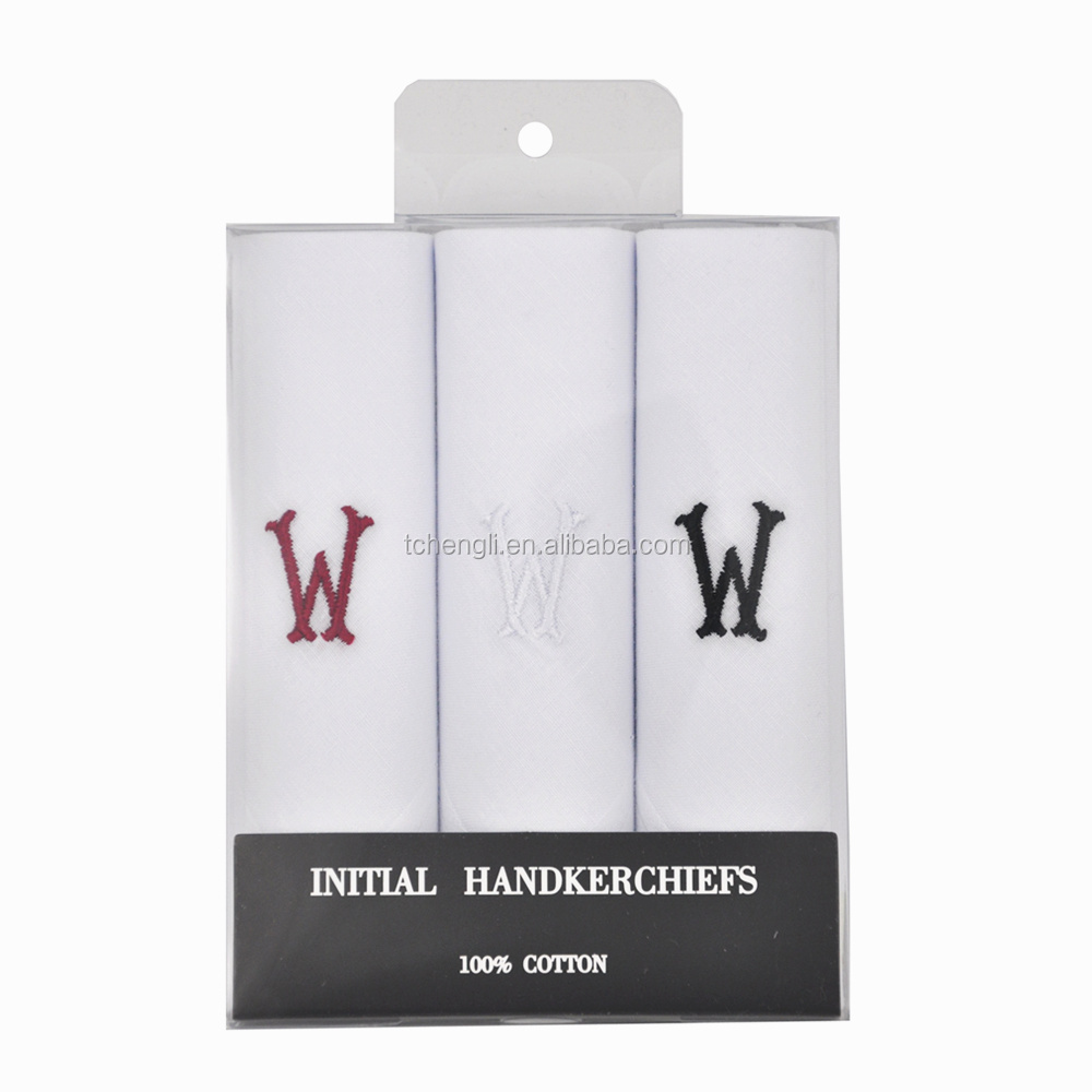 Men's <strong>3</strong> PC 100% Cotton Monogrammed Handkerchiefs Initial Letter Hanky W