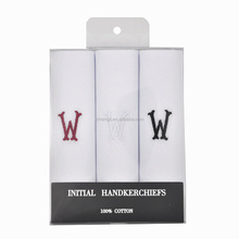 Men's 3 PC <strong>100</strong>% Cotton Monogrammed Handkerchiefs Initial Letter Hanky <strong>W</strong>