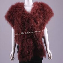Ostrich Feather Shawls Red Wine2012-2013 newest fashion