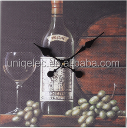 Wine oil painting popular cheap canvas wall clock