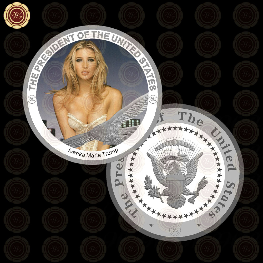 WR Wholesale Customized Coin <strong>Craft</strong> Quality 99.9 Silver Plated Ivanka Trump Coin Art <strong>Craft</strong> /w Free Case 40x3mm