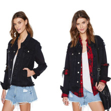 black Denim jacket womens fashion jacket denim jackets for lady