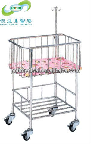 Stainless steel hospital baby cot