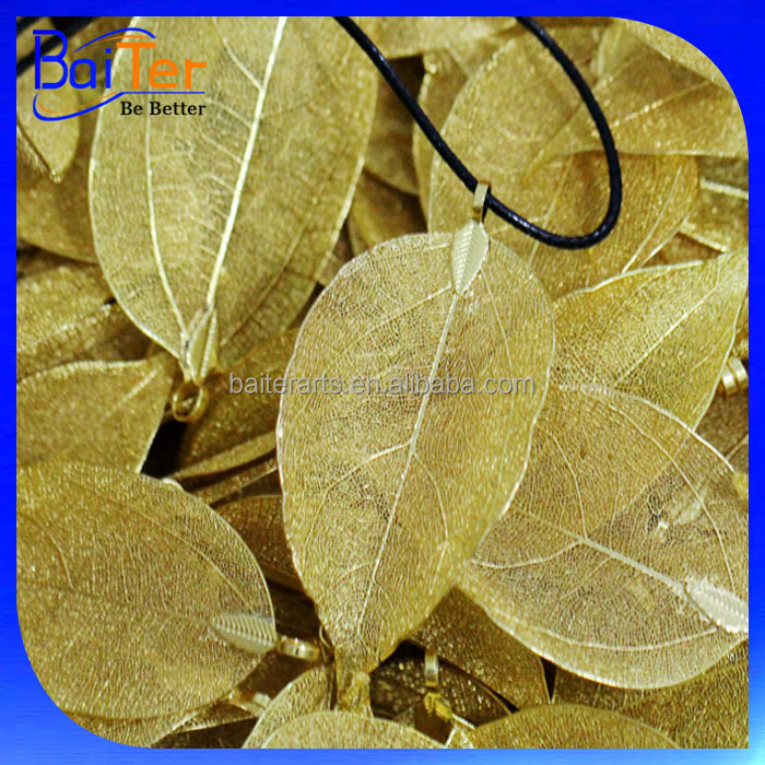 Gold Silver Plated Natural Real Leaf Charm Pendant Necklace Jewelry /Yellow Gold Plated Natural Leaf Necklace Wholesale
