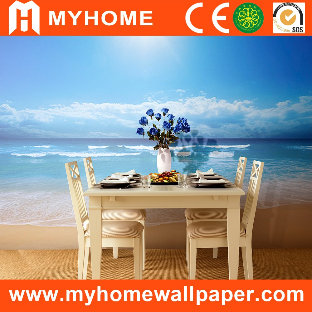 Cheap Interior Decorative Beautiful Seabed Scenery Self Adhesive Wallpaper Mural High Quality Natural Seascape 3d Wall Mural