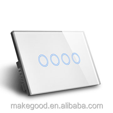 AU/US Glass Panel Remote Wireless WIFI control Smart Home Touch Wall Light Power Switch 4gang with SAA certificate