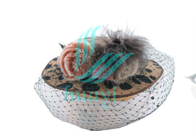 popular leopard print wedding dress hats with veil and feather