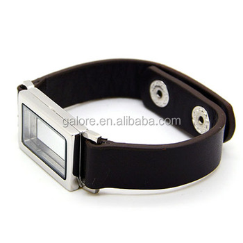fashion 316L stainless steel snap custom locket leather bracelet
