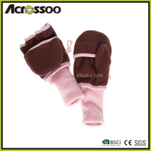 Two tones polyester half finger mittens with flap, winter fleece lining gloves with covering