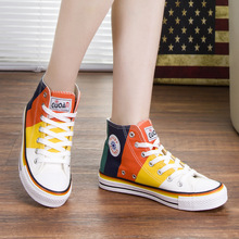 Colorful new model custom design printed fashion made women's canvas shoes manufacturer