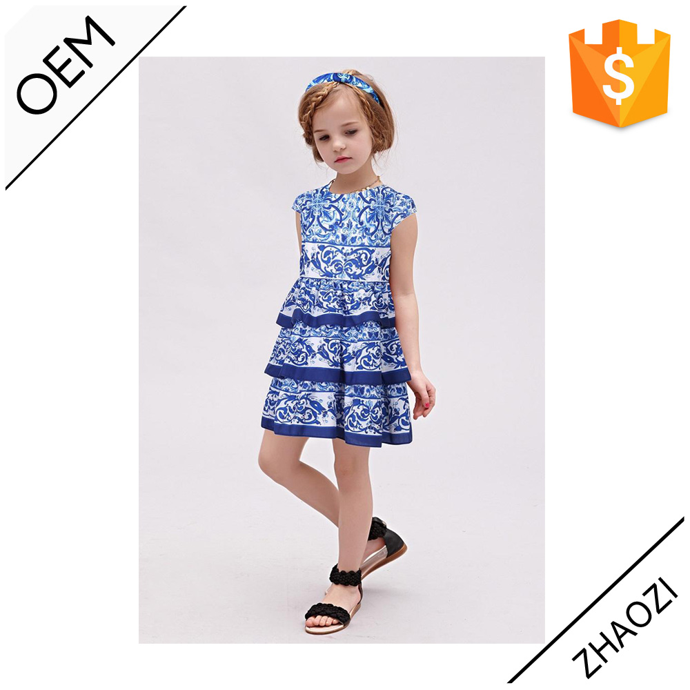 2016 European Fashion Children Frocks Designs Chinese Style Blueand