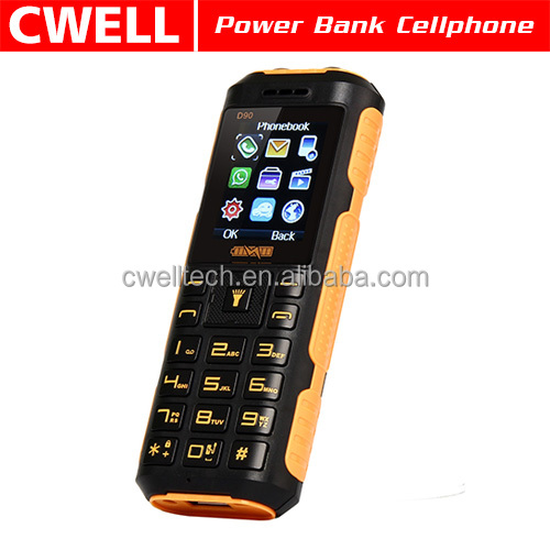 China Cheap Charger ADMET D90 with Two Torch Light Dual SIM Card GSM 1800mah Emergency Power Bank Feature Phone