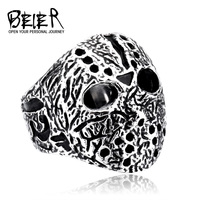 US Size 7-13 Excellent,Wholesale cheap Jason mask jewelry Mens Stainless personalized ring index finger exaggerated ring BR8-192