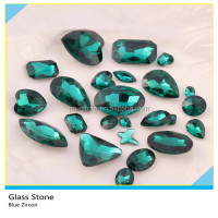 Bling Bling Mix Size Pointback Blue Zircon Glass Crystal Rhinestone For Garments