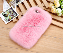 Fur Hair Pink Handmade Soft Warm Hair Case with Butterfly Crystal Rhinestone for iPhone 6s,7,7plus