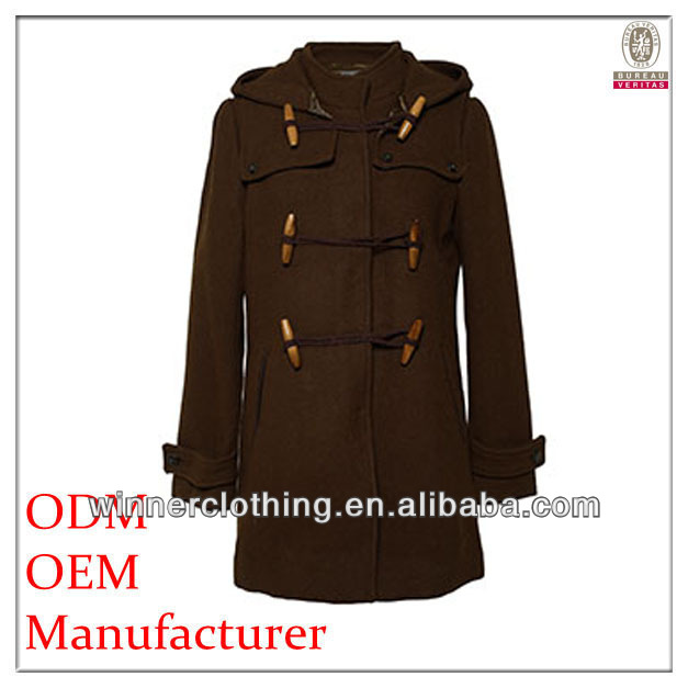 sexy new fashion ladies polyester long sleeved gothic winter coats with cap and buttons
