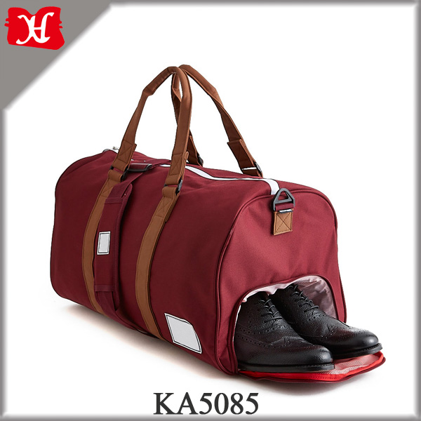 2017 Stylish Burgundy Color Travel Bag Men's Nylon Duffle Bag with Shoe Compartment
