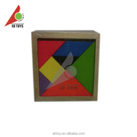 Colorful kids intelligence toy square wooden tangram puzzle 6pcs
