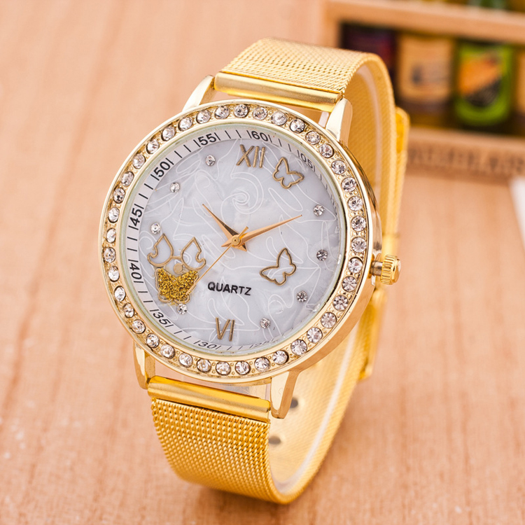 All gold watch with stone, mesh band watch cheap price customized with your logo