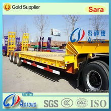China Supplier Tri axles tyre exposed low flatbed semi trailers for sale