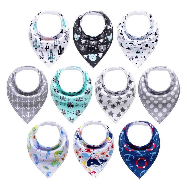 <strong>10</strong>-Pack newborn triangle Baby Boys Bandana Drool Bibs for Drooling and Teething