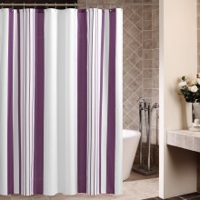 JACQUARD PURPLE STRIPE POLYESTER SHOWER CURTAIN