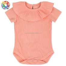 2L-LY/233 Elastic Striped Ruffle Rib Velour baby girl clothes romper