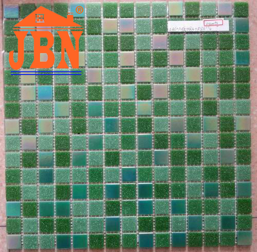 green sea color shower room glass mosaic tile