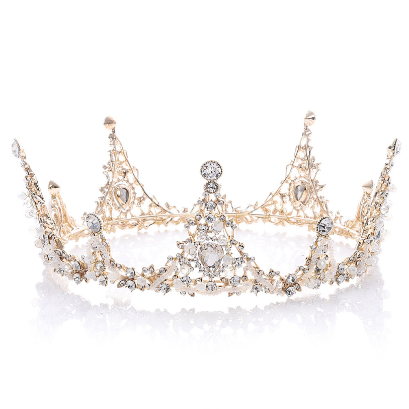 JCG085 European Handicraft Queen Baroque Bride Hair tiaras Ornaments Party <strong>crown</strong> with diamond and pearl
