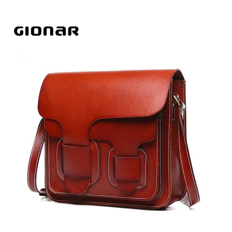 Popular New Design Leisure Ladies Vegetable Tanned Leather Handbags